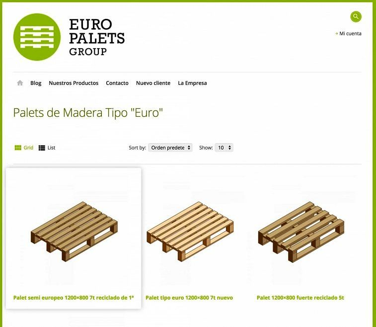 EuroPalets Group en modo catálogo virtual