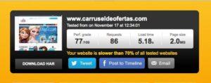 Test de velocidad de Carrusel de Ofertas