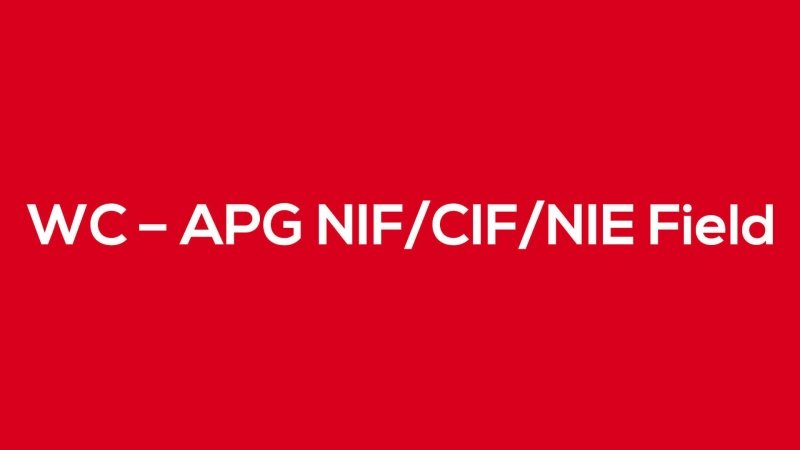 WC – APG NIF/CIF/NIE Field - Blog